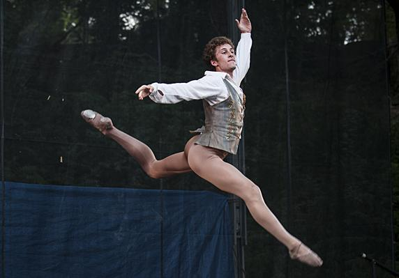 Lark Commanday, of KCB II, makes a commanding leap across the stage during the Peasant Pas de Deux  from 'Giselle.'