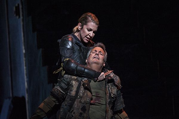 Joyce DiDonato, as Romeo, and William Burden, as Tebaldo, scuffle when they begin to hear the funeral procession of their beloved Giulietta.
