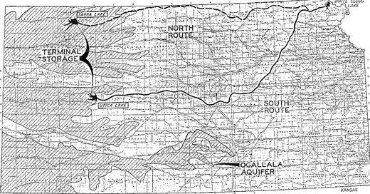 A U.S. Army Corps of Engineers report in 1982 proposed a 360-mile canal, with 16 pump stations to propel the water uphill to western Kansas.