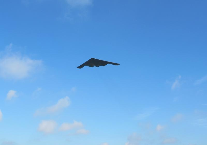 A B-2 Spirit Bomber takes off from Whiteman AFB Tuesday