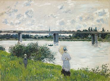 Claude Monet, French (1840-1926). The Promenade with the Railroad Bridge, Argenteuil, 1874.