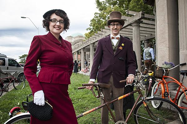 Christian Stalder and her husband Bryan pose with the tandem bicycle they brought to the ride.