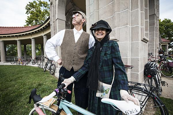 Sam Swearngin and his wife Sheila said they came to enjoy the fine weather and a ride through the historic neighborhood.