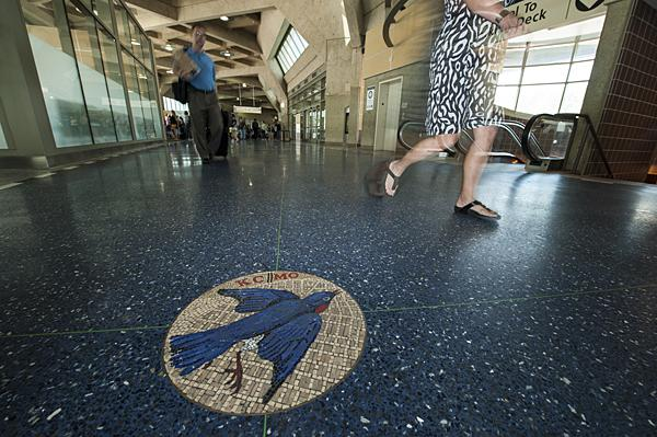 The terrazzo flooring of 'Polarities' is underfoot in Terminal A.