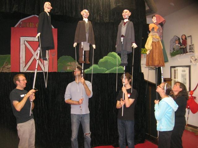 "'Herschel and the Hanukkah Goblins"" cast rehearse at Paul Mesner Puppets in Midtown."