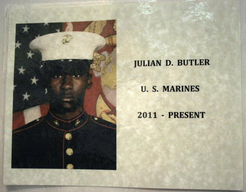 Julian Butler, currently serving in the Marine Corps, is postal worker Vivian Pearson's nephew.