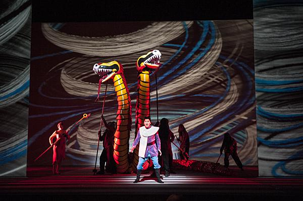 Shawn Mathey, as Tamino, is a handsome prince lost in a faraway land.  As the opera's opens,Tamino is pursued by a serpent.
