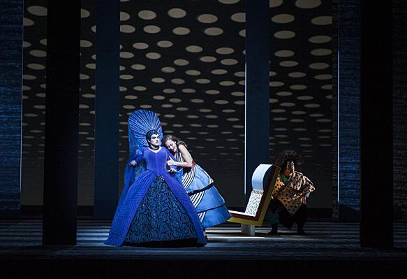 In secret, Kathryn Lewek,  as the Queen of the Night, meets her daughter Lauren Snouffer, as Pamina.
