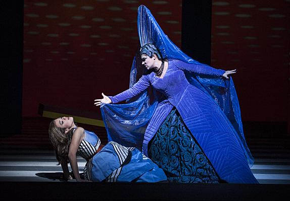 Kathryn Lewek,  as the Queen of the Night, exhorts her daughter Lauren Snouffer, as Pamina, to do her bidding.