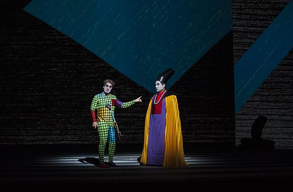 Facing many obstacles on his journey, Daniel Belcher, as Papageno, is met by Andrew Gangestad, as the speaker, who charitably offers him wine.