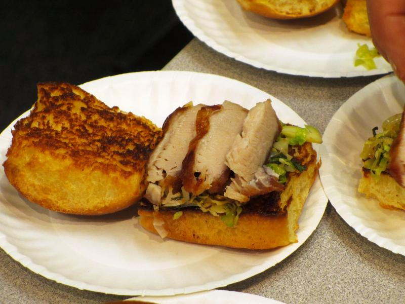 Pork belly sandwiches with Brussels sprout slaw were on Ted Habiger's menu.