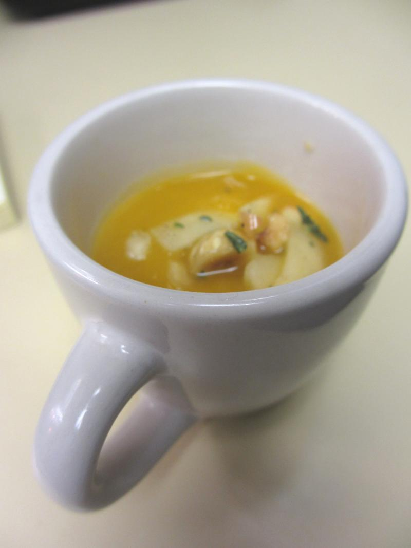 Ted Habiger served up sweet potato soup with apple and hazelnuts.