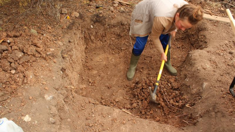 Jesse Bonny digging out the foundation.