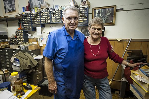 Clarence and his wife Betty on their final day of business.