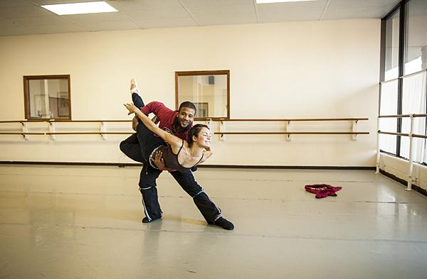 Dancers Betty Kondo and Winston Dynamite Brown practice in a side studio at Kansas City Ballet School.