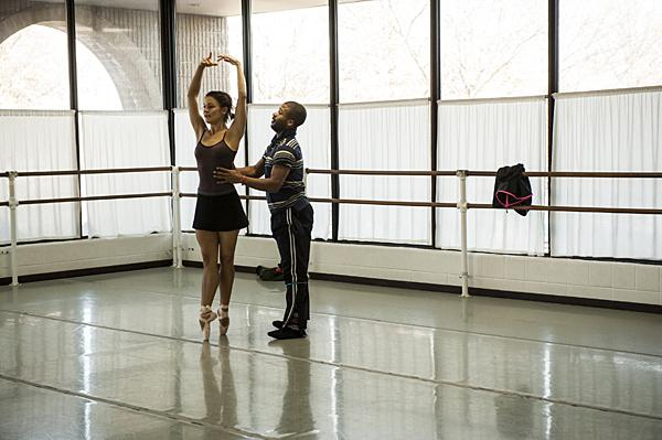 Kondo and Brown work together during a rehearsal.