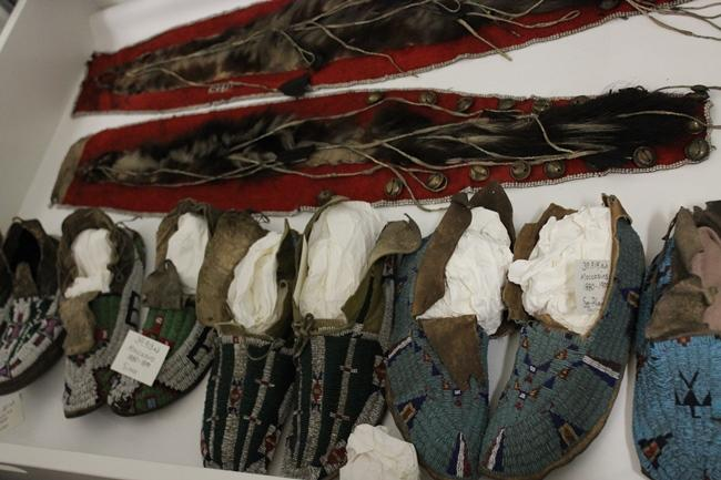 Anklets and moccasins, including ones (at far right) that belonged to Whirlwind, a Cheyenne peace chief.