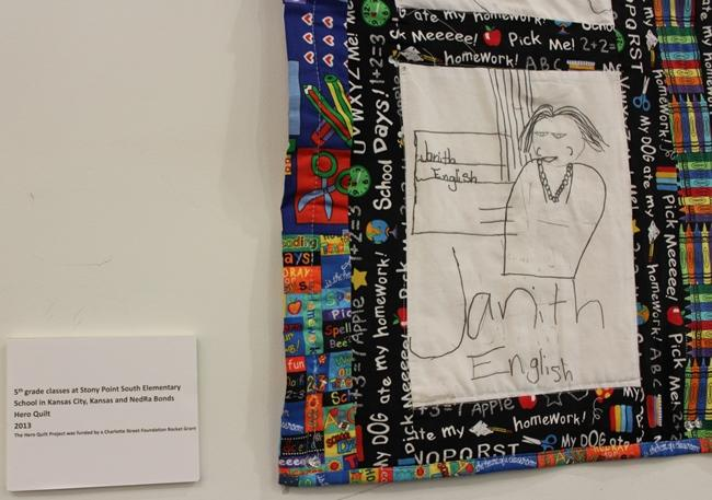 Some of the quilts featured artwork by Stony Point Elementary students.
