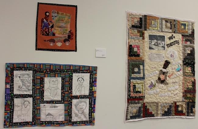 At the UMKC Miller Nichols Library, quilts by Nedra Bonds, at left, and Nancy Dawson.