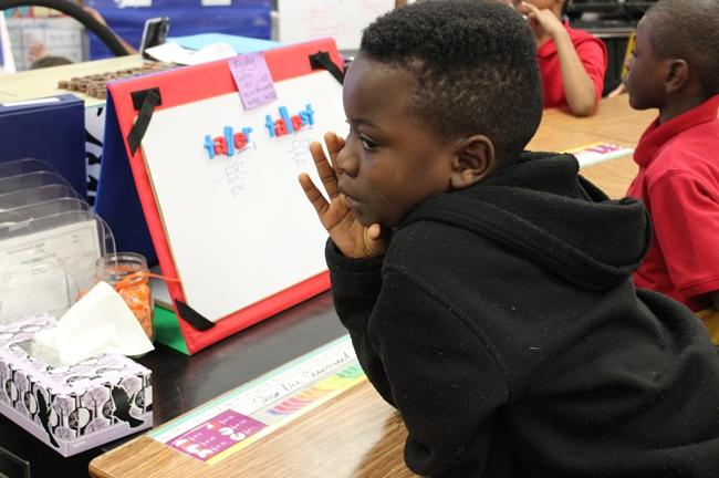 Students, such as Shon' Dre, shared their ideas about the definition of a hero.