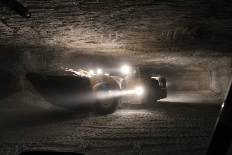 A loader works  650 feet below the surface at the Hutchinson Salt Mine
