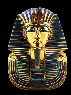 A reproduction of Tutankhamun's golden mask. The original was made of 11 kg of solid gold.