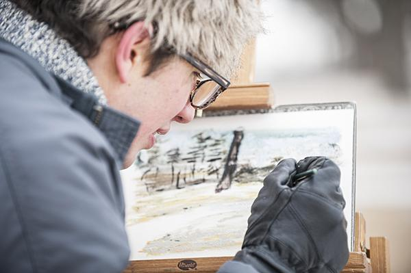 Robert Bingaman enjoys the effect of frozen water in his watercolor sketches.