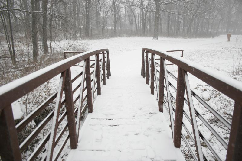 A snowy bridge in Overland Park, Kan.