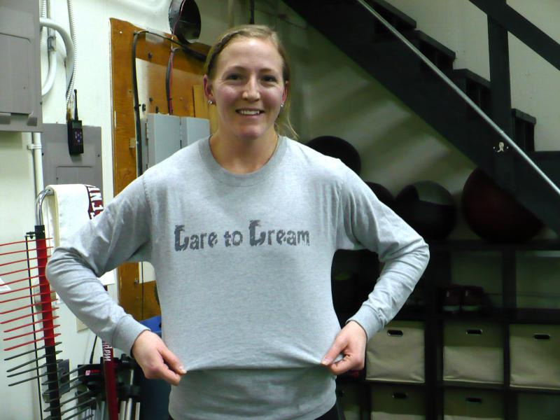 """Training and traveling, plus working a full-time job is a full-time commitment, and expensive. But Nostrant keeps her eye on the prize. She trains wearing a shirt she made that says """"Dare to Dream."""""""