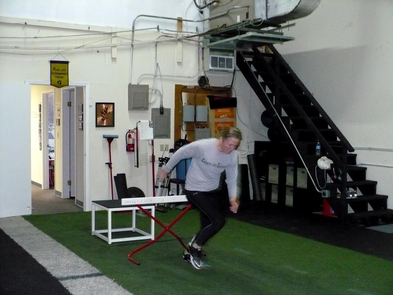 Nostrant's favorite drill is what she calls the 'gold medal drill.' Nostrant stands on a platform, much like a medalist at the Olympics, then jumps off, over a hurdle and into a sprint.