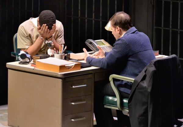At right, Kevin Cristaldi (as Father Adrian Crouse) counsels Will Cobbs (as Damon Robinson).