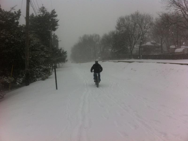 The snow didn't deter our general manager, Nico Leone, from hitting the Trolley Track Trail on his bike.