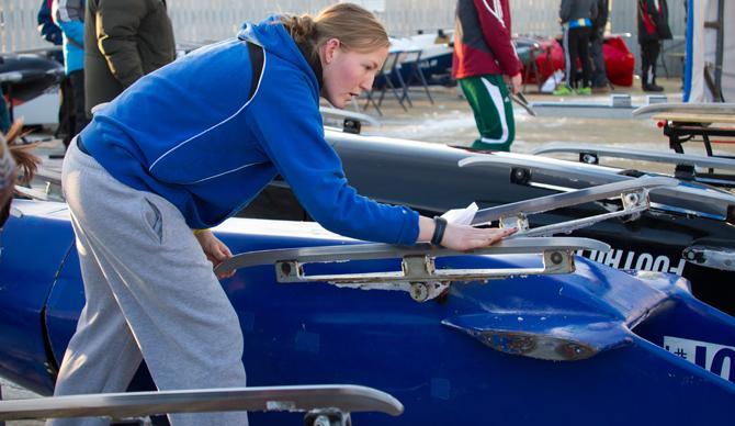 Anna Nostrant preparing for a bobsled run.