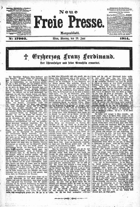 Neue Freie Presse (Austrian newspaper), June 29, 1914