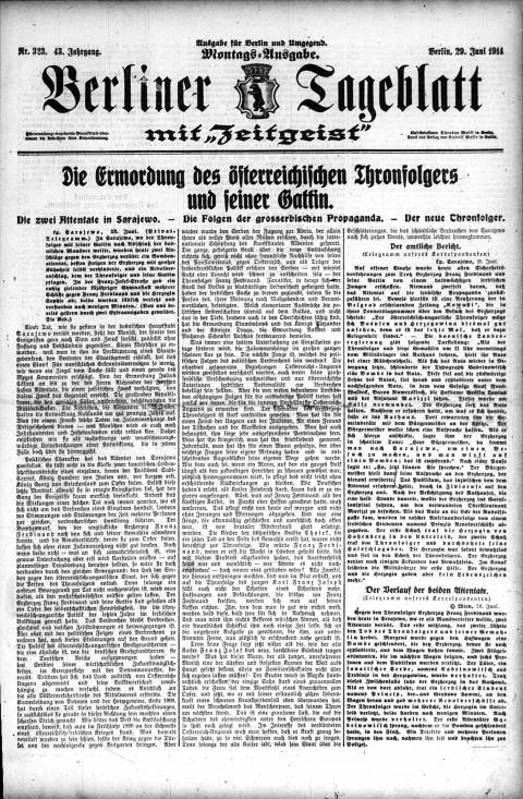 Berliner Tageblatt Montags-Ausgabe (German newspaper), June 29, 1914