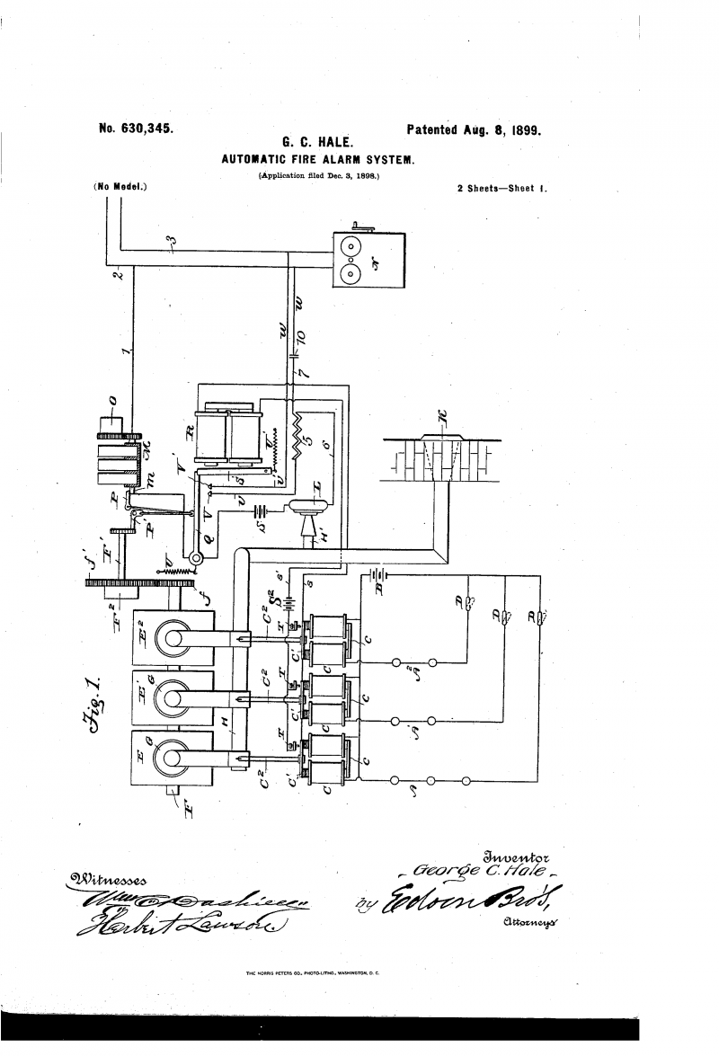 A drawing of George C. Hale's automatic firealarm system.