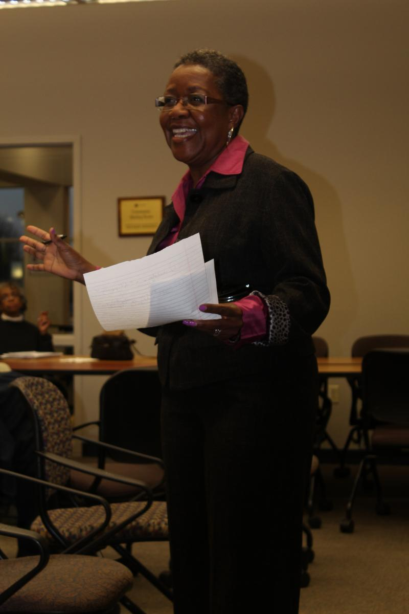 Wanda Taylor, president of the Troostwood Neighborhood Association, spoke about issues facing her community March 25 at a KCUR listening session.