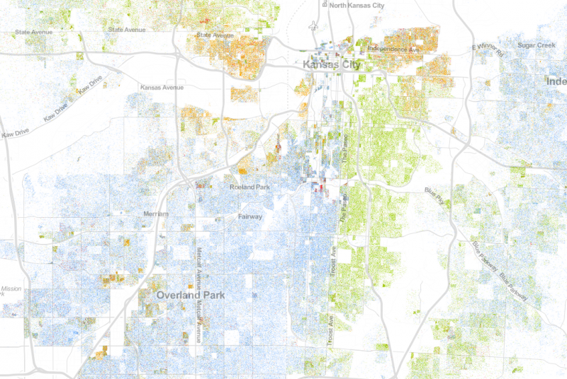 This visualization of 2010 U.S. Census data shows Troost as a racial divider in Kansas City, Mo. (Blue dots represent white residents, green dots represent African-American residents.)