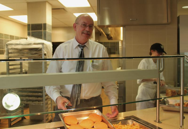 Wayne Tudor, head of food service at Luther College, says the school purchases more than 35 percent of its food locally.