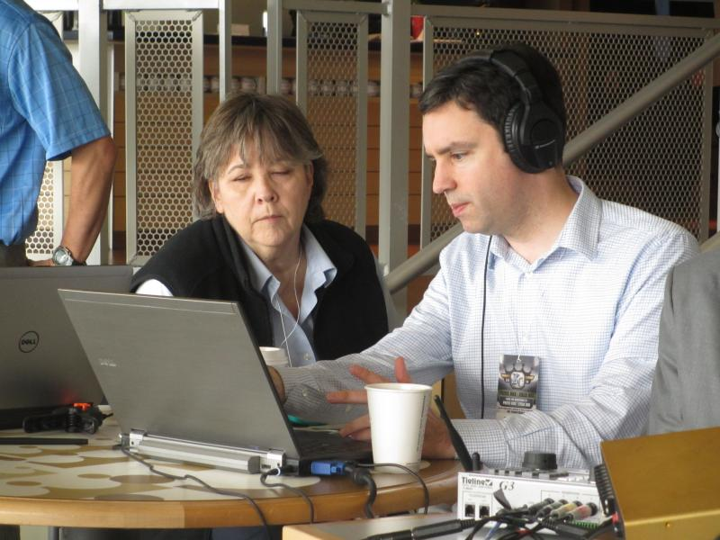 Danie Alexander and Brian Ellison produce Up to Date during the remote broadcast.