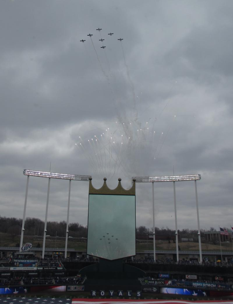 Planes fly over Kauffman Stadium at the conclusion of the national anthem.