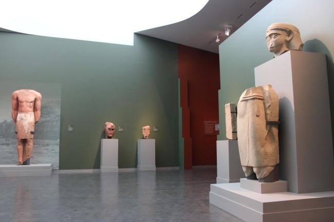 Larger than life-sized statues were carved from red sandstone.