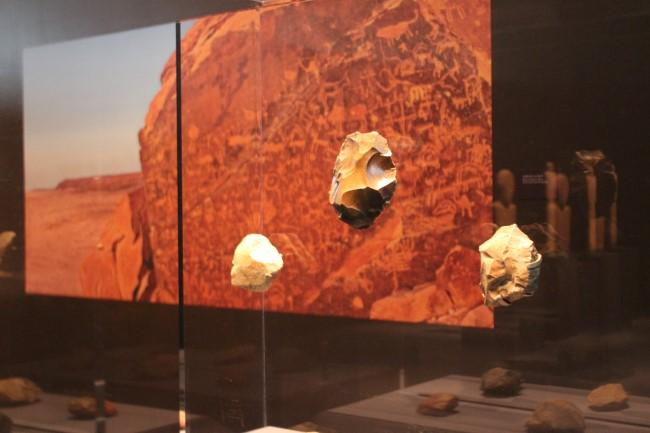 There are several cases of prehistoric tools in the exhibition.