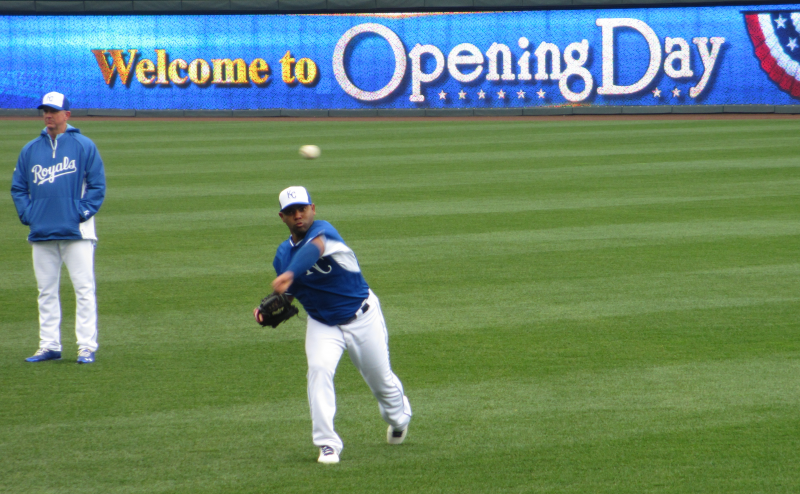 A player warms up before the Royals' home opener.