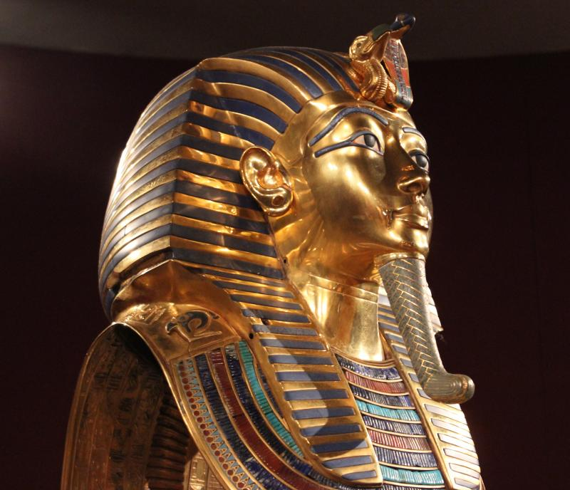 """The Discovery of King Tut"" displays a replica of Tutankhamun's golden mask. It's a representation of the king as everlasting, and not a portrait."