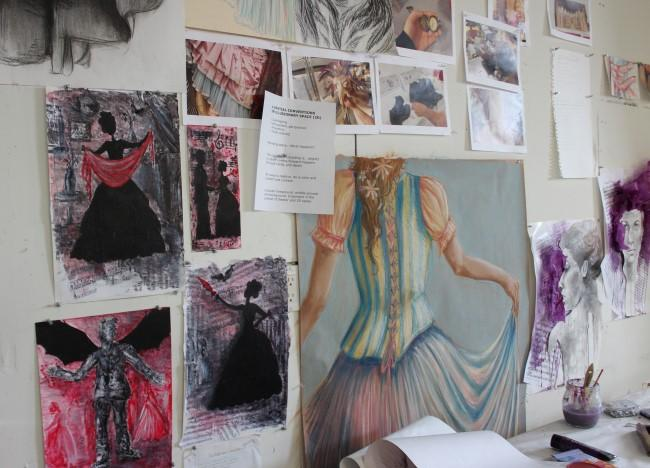 Costumes, props and other materials from 'Die Fledermaus (The Bat)' provide student inspiration.