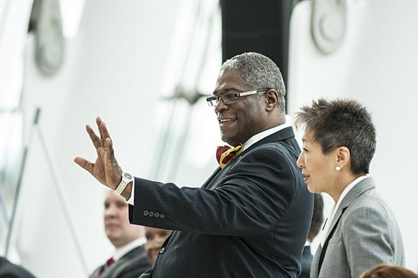 Mayor Sly James waved to the assembled crowd moments before the official announcement.
