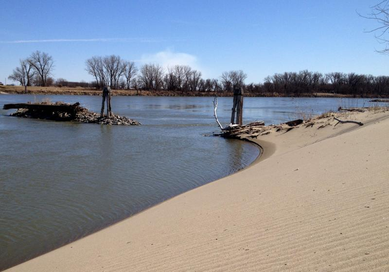Since the flood of 2011 this river bank at the edge of Olson's farm field has looked more like a sand dune.