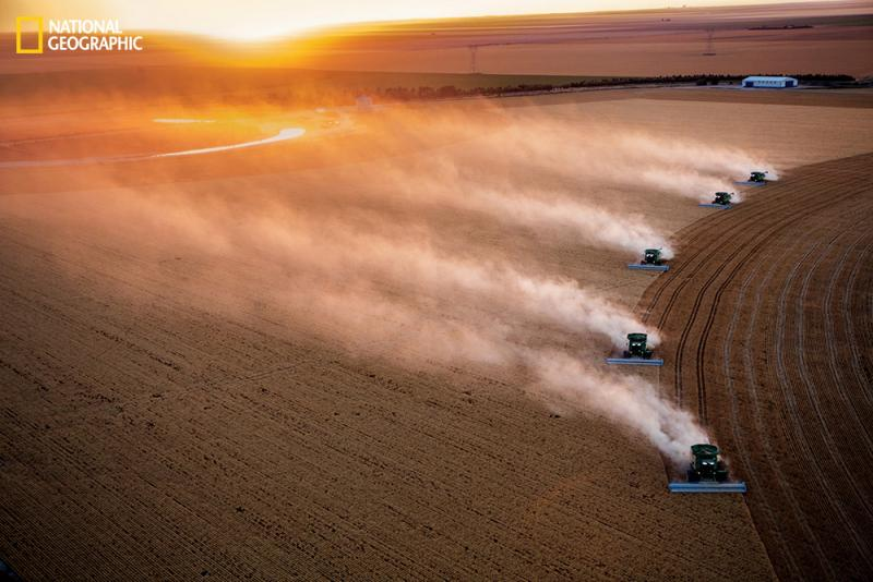 On the Vulgamore farm near Scott City, Kan., each combine can harvest up to 25 acres of wheat an hour — as well as provide real-time data on crop yields. Most of the food Americans eat is now produced on such large-scale, mechanized farms.