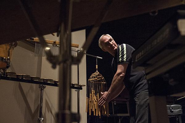 Mark Lowry looks to fellow Percussionist Nick Petrella to measure  the impact of the sound of his bamboo chimes.